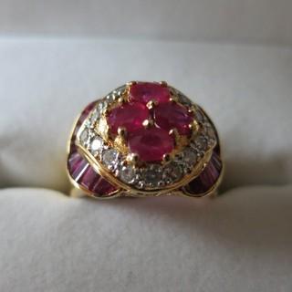 重量感たっぷり アンティールビー&ダイヤモンド18金リング 金細工のアンティーク(リング(指輪))
