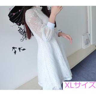 レースの フォーマル ドレス XL ワンピース ミディアム ひざ丈 長袖(ひざ丈ワンピース)