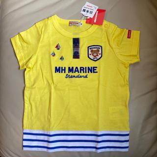 mikihouse - 【新品未使用】ミキハウス 90cmプッチー 裾ボーダー半袖Tシャツ