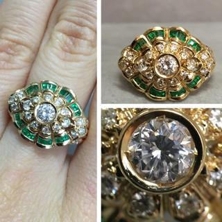 K18 綺麗なエメラルドとダイヤモンド リング