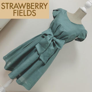ストロベリーフィールズ(STRAWBERRY-FIELDS)のストロベリーフィールズ シャンタンワンピース ドレス グリーン(ミディアムドレス)