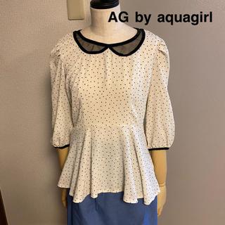 エージーバイアクアガール(AG by aquagirl)の【AG by aquagirl】アクアガール ドット 騙し襟 ペプラム ブラウス(シャツ/ブラウス(長袖/七分))