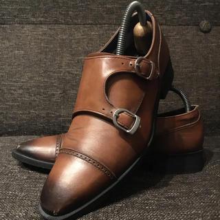 リーガル(REGAL)のリーガル ゴアテックス モンクストラップ 革靴 レザー 茶 23.5cm(ドレス/ビジネス)