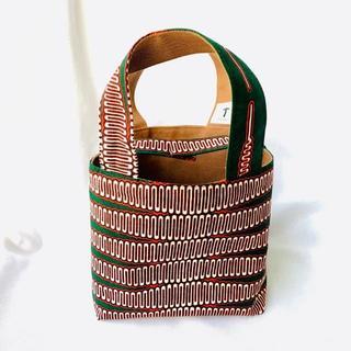 グリーン レッド 小 ランチバッグ 帆布 リバーシブル アフリカ布 バオバブ神戸(トートバッグ)