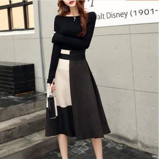 【XL/ホワイト】長袖プルオーバー+スエード調スカート(ひざ丈スカート)