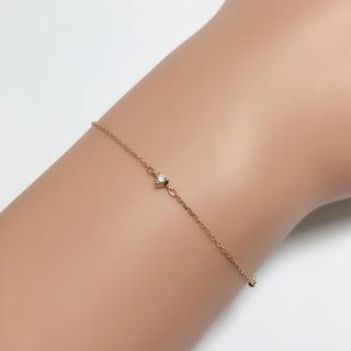4℃ - 細身 華奢 4°C ダイヤモンドブレスレット  ダイヤブレス k10 10金