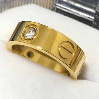 ラブリング 6mm レディースステンレスリング  ゴールドリング(リング(指輪))