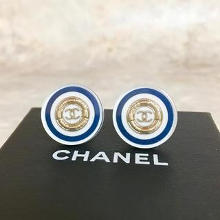 CHANEL - 正規品 シャネル イヤリング ゴールド ココマーク クリア マリン 金 ロゴ 白
