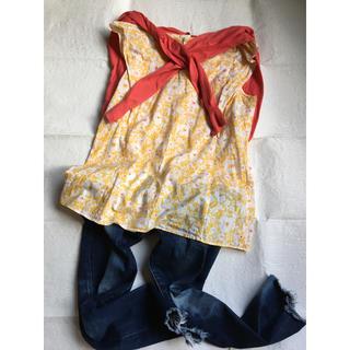 フレディアンドグロスター(FREDY & GLOSTER)のフレディー イエロー系花柄トップス サイズ36(カットソー(半袖/袖なし))