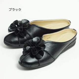 コサージュ付サボサンダル おしゃれつっかけ ブラックMサイズ(スリッポン/モカシン)