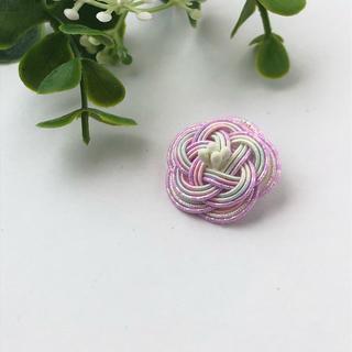 No.14 水引Camellia Flower ラペルピン 金具の変更可能です(ネクタイピン)
