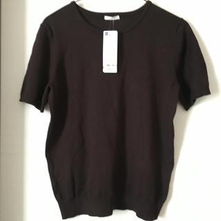 ジーユー(GU)のGU トップス ブラウン(カットソー(半袖/袖なし))