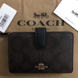 COACH - 新品!コーチ 二つ折り財布 ブラウン ブラック シグネチャー