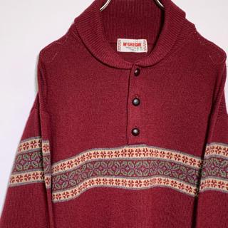 マックレガー(McGREGOR)のMcGREGOR ウールニットセーター Mサイズ あずき色 マクレガー(ニット/セーター)