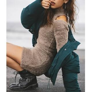 ジェイダ(GYDA)のGYDA♡ 『オープンショルダーシャギーニットワンピース』(ミニワンピース)
