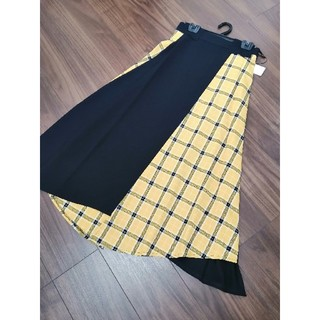 SCOT CLUB - 定価15800円 grand table イエローチェック 切り替え スカート