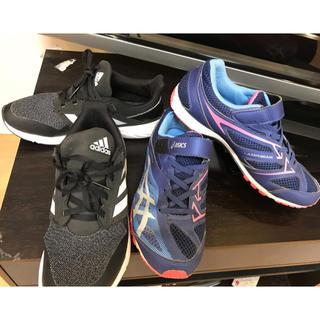 スニーカー 子供用 23号 adidas & asics 2足 中古