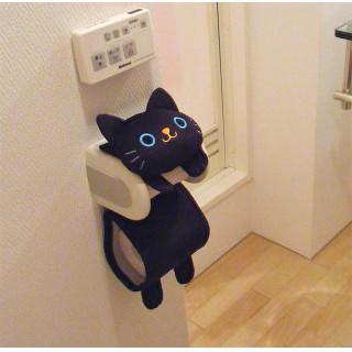 【可愛いネコちゃん】ねこのロールペーパーホルダー クロ