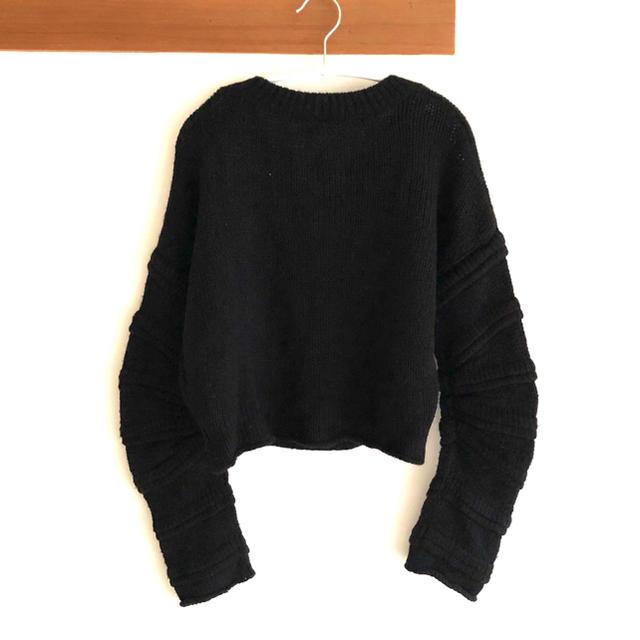 moussy(マウジー)のブラックバイマウジー 立体裁断ニットトップス ブラック 黒 レディースのトップス(ニット/セーター)の商品写真