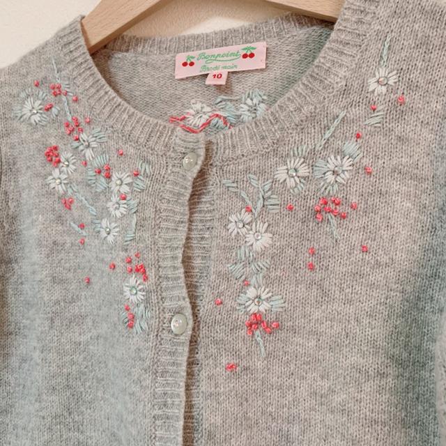 Bonpoint(ボンポワン)のボンポワン グレー 刺繍 カーディガン 10 キッズ/ベビー/マタニティのキッズ服女の子用(90cm~)(カーディガン)の商品写真
