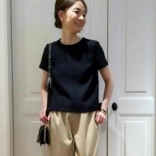 DEUXIEME CLASSE - ドゥーズィエムクラス  ダブルサテン コンパクト Tシャツ プルオーバー 黒