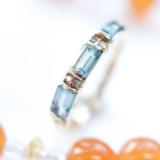 トクトクジュエリー トパーズ ダイヤモンド 18金 リング(リング(指輪))