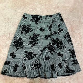 ByeBye - ByeBye フロッキー 花柄 スカート フリル ブラック