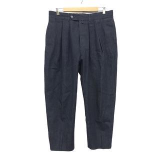 COMOLI - NEAT コットン ワイド パンツ ネイビー サイズ 48