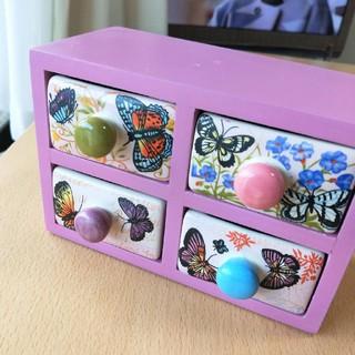 アジアン 小物入れ 蝶々 ミニチェスト 引き出し 木製 陶器 ピンク 鍵ケース