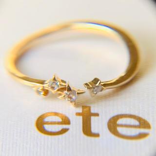 ete - k10  ete 星のピンキーリング ダイヤモンド ブルームーンストーン エテ