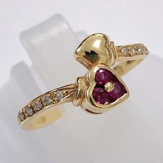 お買い得 ルビーリング ダイヤモンド リング 指輪 k18yg イエローゴールド(リング(指輪))