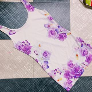 ダチュラ(DaTuRa)のDaTuRa フラワー パープル ミスト 花柄 ワンピ ダチュラ(ミニワンピース)