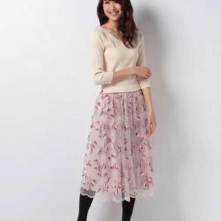 LAISSE PASSE - レッセパッセ  チュールスカート ドッキングワンピース フラワー刺繍