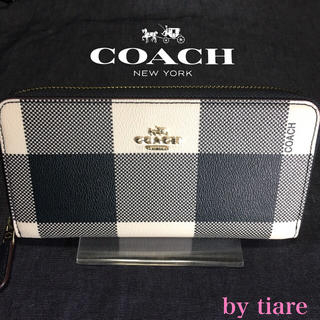 COACH - ■訳あり■新品コーチ オフホワイト×ブラック チェック柄 ラウンドジップ長財布