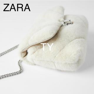 ZARA - 完売品 ザラ 白 キルティング フェイクファー ミニ ショルダー バッグ ポーチ