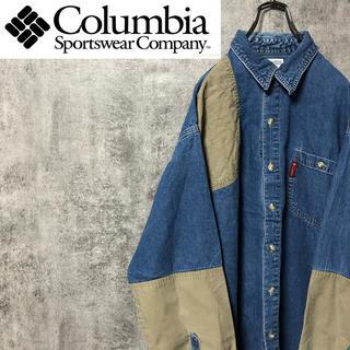Columbia - 【激レア】コロンビア☆ロゴタグ入りビッグデニムハンティングシャツ 90s