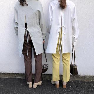 mystic - ミスティック バックリボンロングシャツ オフホワイト