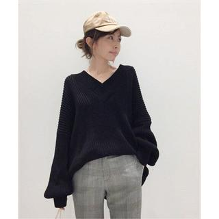 L'Appartement DEUXIEME CLASSE - アパルトモン★TWINS FLORENCE VNECK KNIT ブラック