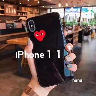 コムデギャルソン(COMME des GARCONS)のギャルソン ♡ iPhoneケース iPhone11 ツヤ 鏡面 黒(iPhoneケース)