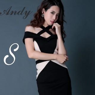 Andy - クロスデザイン オフショル バイカラー ミニドレス/キャバドレス