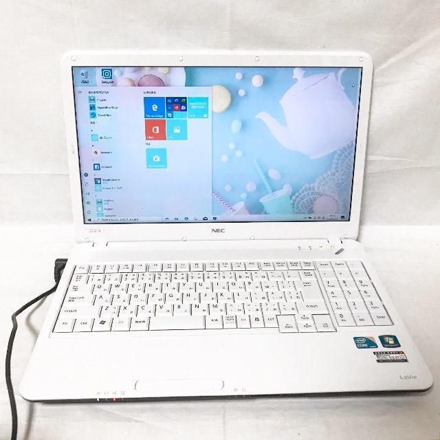 NEC(エヌイーシー)の初めてのPCに☆使いやすい☆人気の可愛いホワイト☆NECノートパソコン☆テンキー スマホ/家電/カメラのPC/タブレット(ノートPC)の商品写真