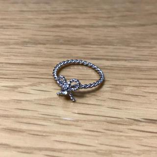 ピンキーリング シルバー リボン ロープ ツイスト ねじり 一粒 ストーン(リング(指輪))