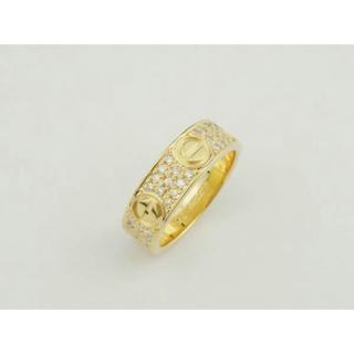 カルティエ(Cartier)の本物 カルティエ YG ラブリング パヴェダイヤ #46 6号 イエローゴールド(リング(指輪))