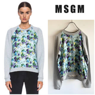 エムエスジイエム(MSGM)のMSGM マルチプリント シルク切替クルーネックスウェット グレー XS(トレーナー/スウェット)