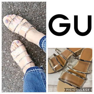 GU - GU ジーユー クリアダブルベルトミュール