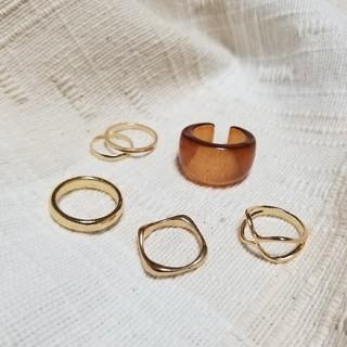 Ungrid - ゴールド シルバー リング 指輪 セット  重ね付け ミル チェーン クリア