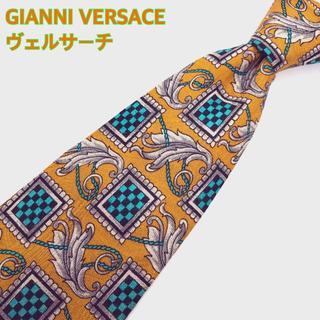ジャンニヴェルサーチ(Gianni Versace)のヴェルサーチ ネクタイ 高級シルク イタリア製 ペガサス 羽根 オレンジ(ネクタイ)