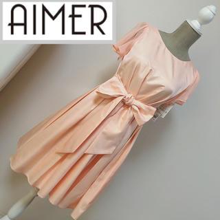 エメ(AIMER)の新品未使用 エメ フレアスリーブ Aラインワンピース ライトオレンジ(ミディアムドレス)