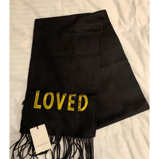 Gucci - gucci グッチ カシミア マフラー 黒 LOVED