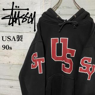 STUSSY - 【激レア】ステューシー☆USA製 紺タグ ビッグロゴ パーカー 90s
